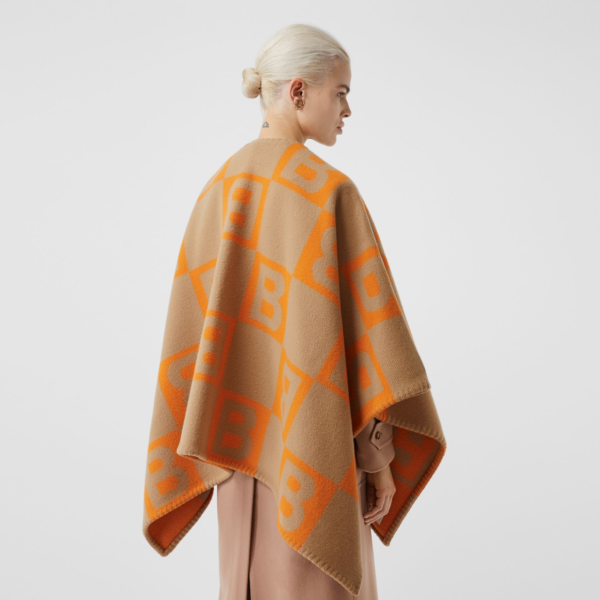 B Motif Merino Wool Cashmere Cape in Orange - Women | Burberry - gallery image 2