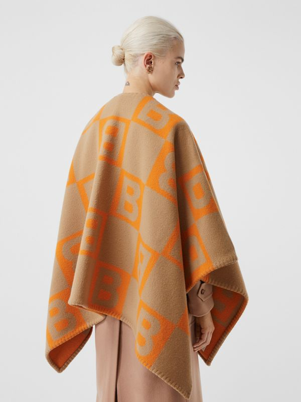 B Motif Merino Wool Cashmere Cape in Orange - Women | Burberry - cell image 2