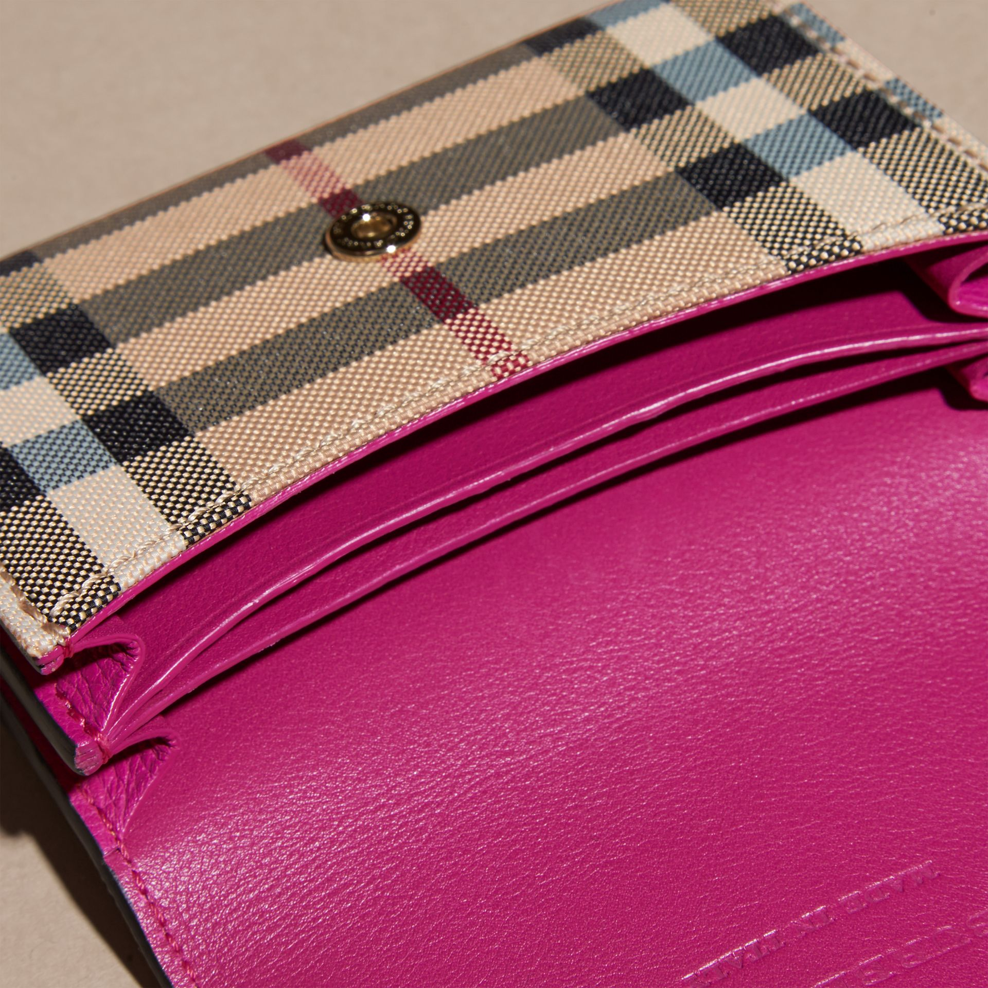 Brilliant fuchsia Horseferry Check and Leather Card Case Brilliant Fuchsia - gallery image 5