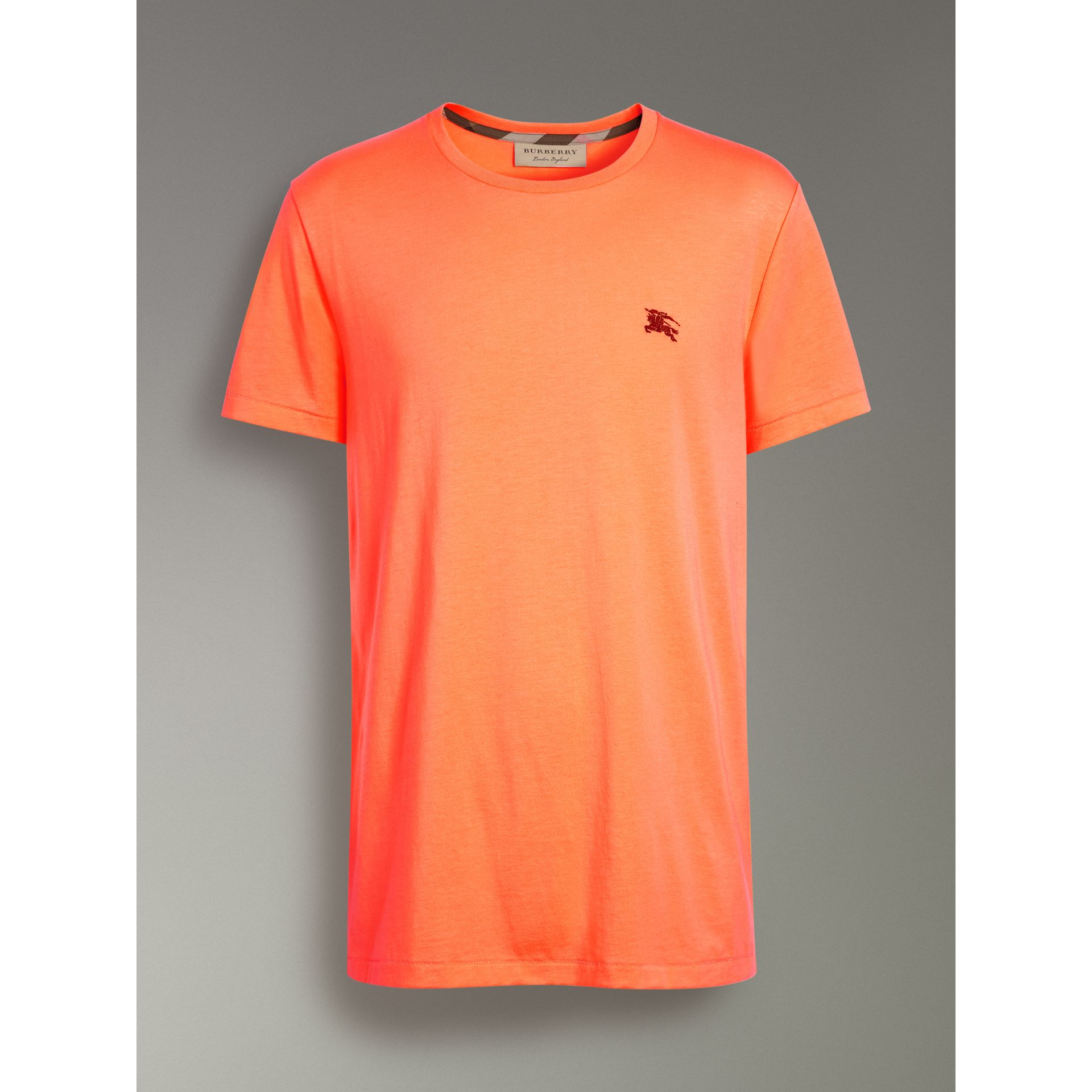 Cotton Jersey T-shirt in Bright Orange - Men | Burberry Singapore - gallery image 3