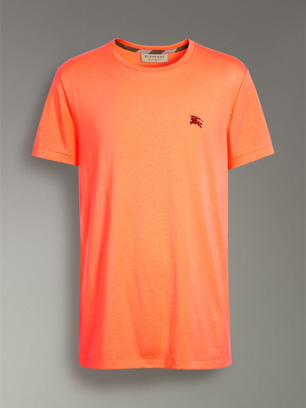 Cotton Jersey T-shirt in Bright Orange - Men | Burberry United Kingdom - cell image 3