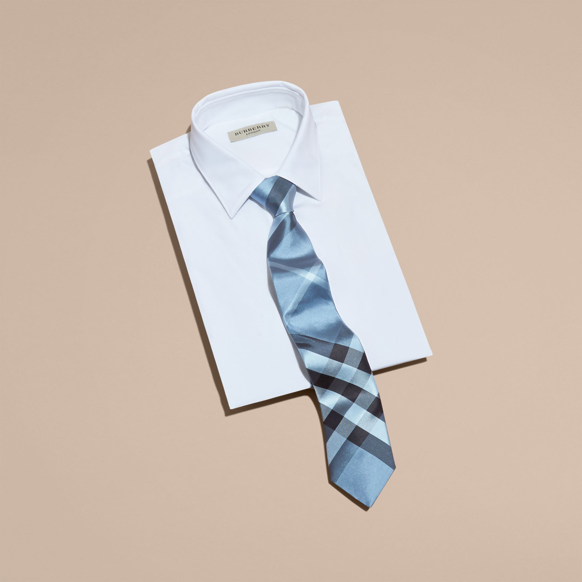 Modern Cut Check Silk Tie in Light Blue - gallery image 4