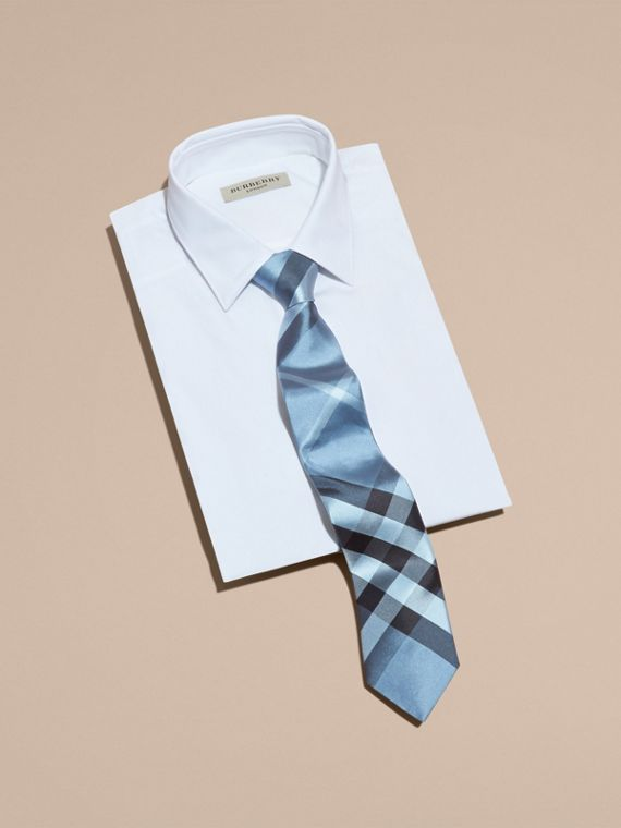 Modern Cut Check Silk Tie in Light Blue - cell image 3