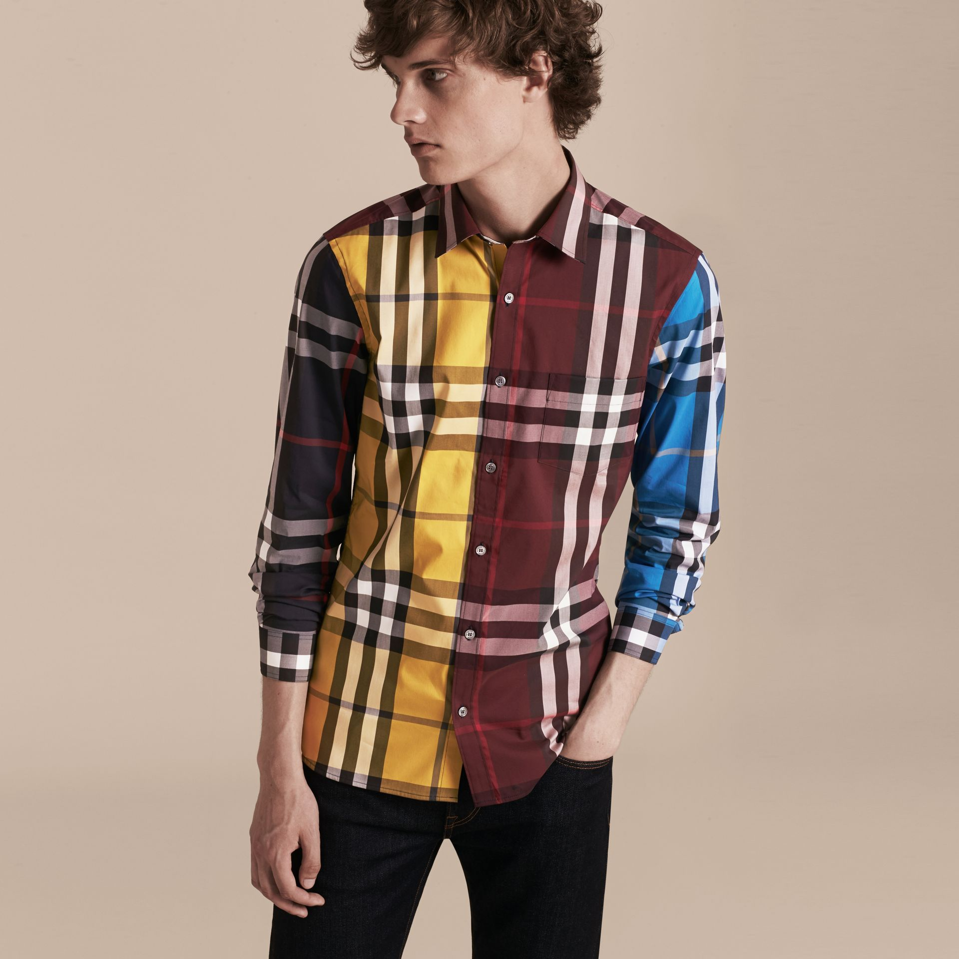 Yellow Colour Block Check Cotton Blend Shirt Yellow - gallery image 6