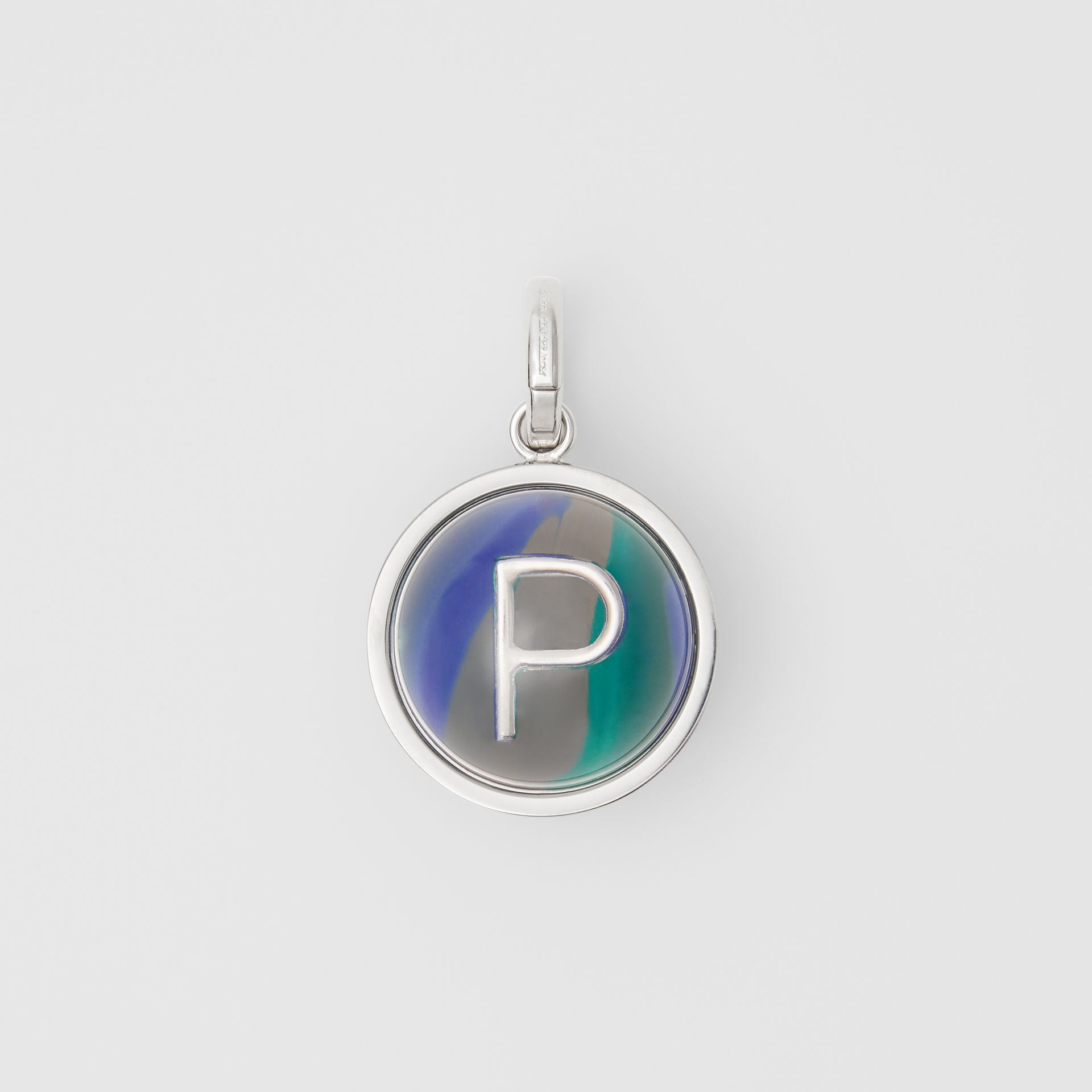 Marbled Resin 'P' Alphabet Charm in Palladio/ocean Blue | Burberry - gallery image 0