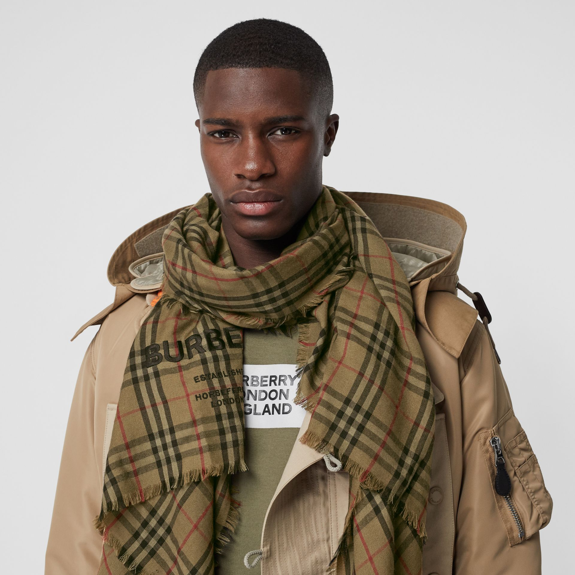 Embroidered Vintage Check Lightweight Cashmere Scarf in Olive Green | Burberry - gallery image 3
