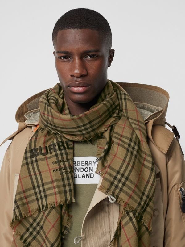 Embroidered Vintage Check Lightweight Cashmere Scarf in Olive Green | Burberry Canada - cell image 3