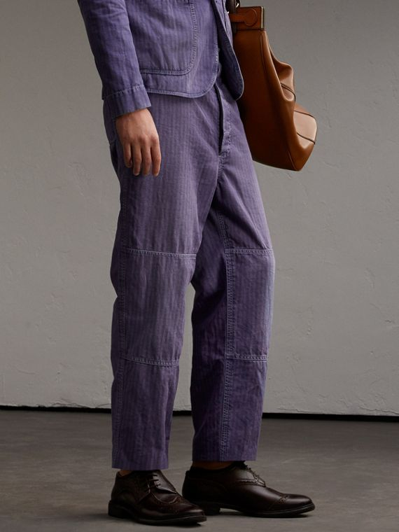 Herringbone Cotton Linen Cropped Workwear Trousers - Men | Burberry Singapore