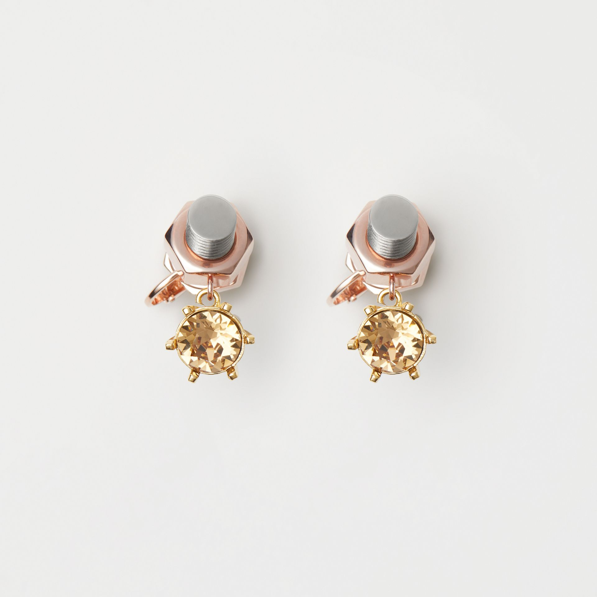 Crystal Charm Rose Gold-plated Nut and Bolt Earrings in Gold/palladium - Women | Burberry Singapore - gallery image 0