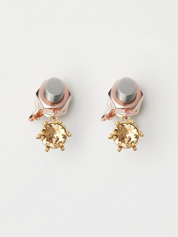 Pendientes en forma de tuerca y tornillo chapados en oro rosado con cristal (/ Paladio)