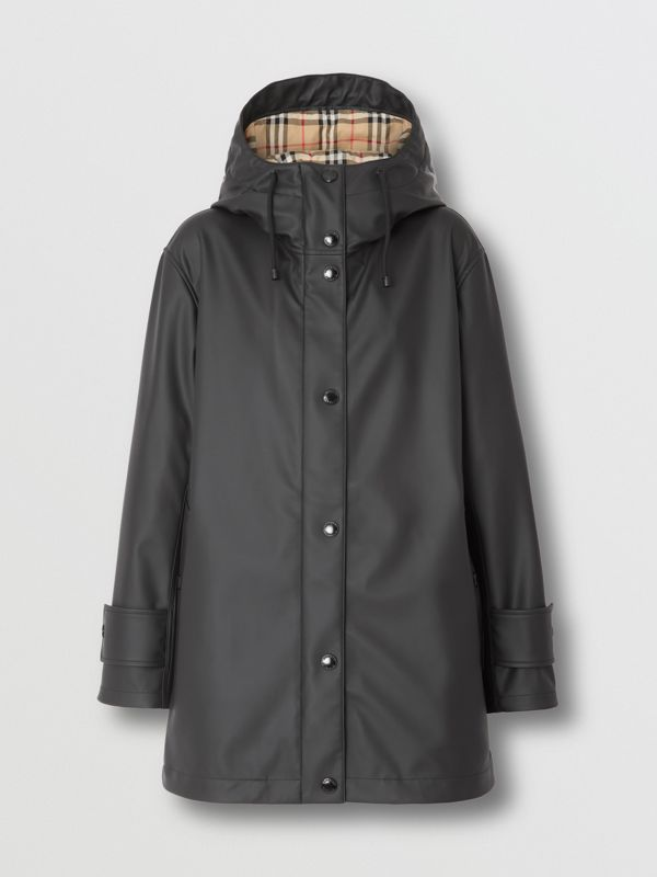 Logo Print Rubberised Hooded Coat in Black/white - Women | Burberry - cell image 2