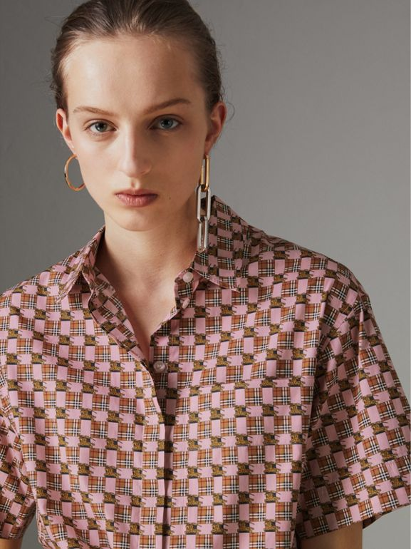 Short-sleeve Tiled Archive Print Cotton Shirt in Pink - Women | Burberry - cell image 1
