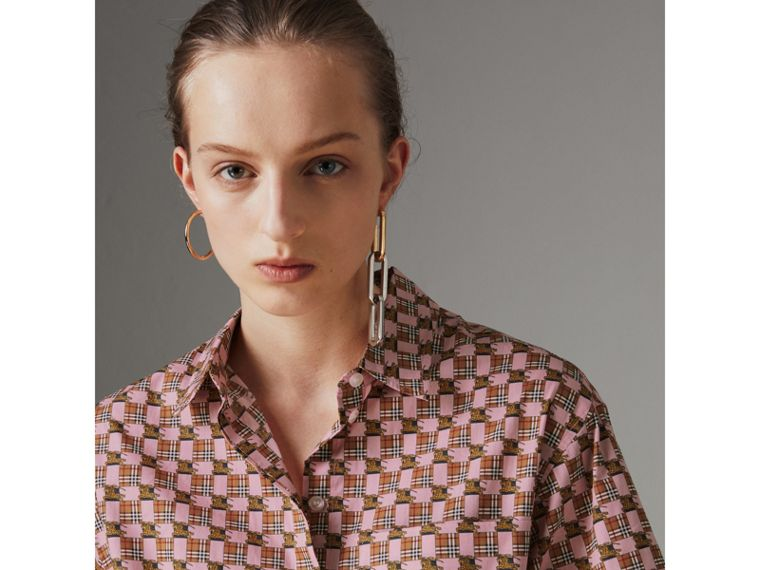 Short-sleeve Tiled Archive Print Shirt in Pink - Women | Burberry - cell image 1