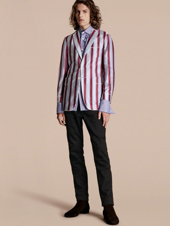 Unlined Striped Cotton Silk Blazer