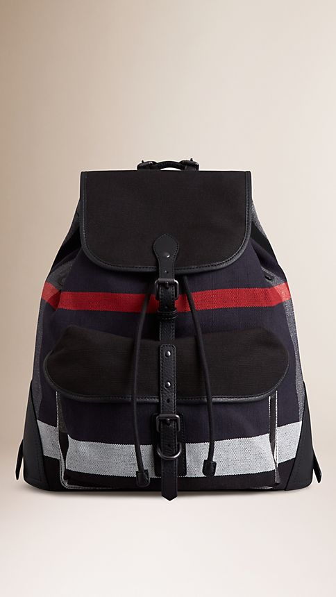 Navy Canvas Check Backpack - Image 1