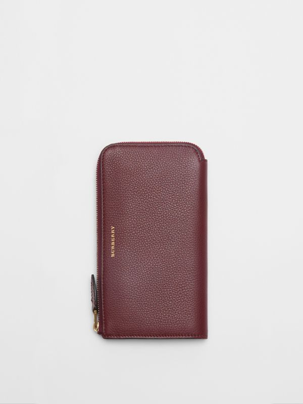 Two-tone Leather Ziparound Wallet and Coin Case in Deep Claret - Women | Burberry Australia - cell image 3