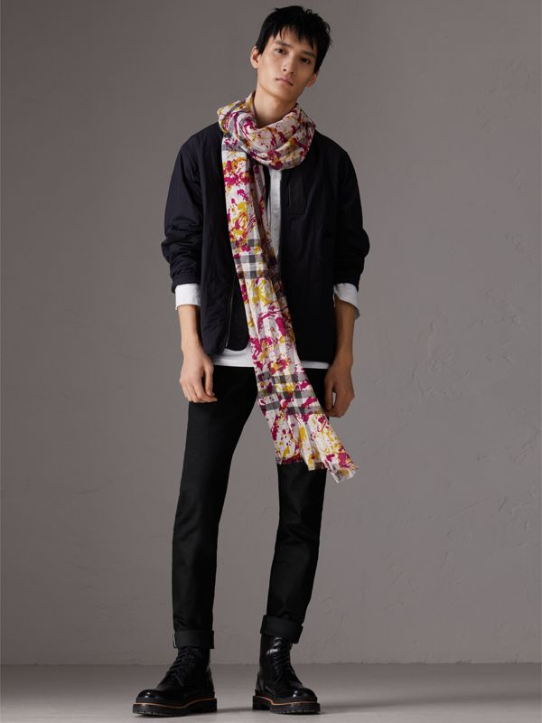 Splash Print and Check Lightweight Wool Silk Scarf in Stone/yellow | Burberry - cell image 3