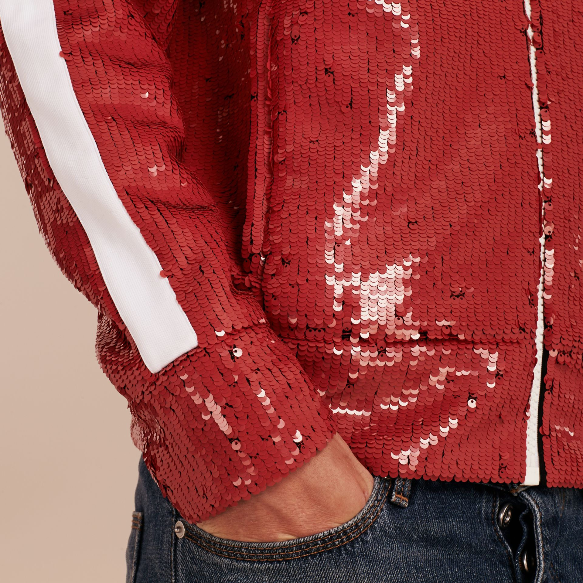 Cranberry red Sequin Track Jacket - gallery image 6
