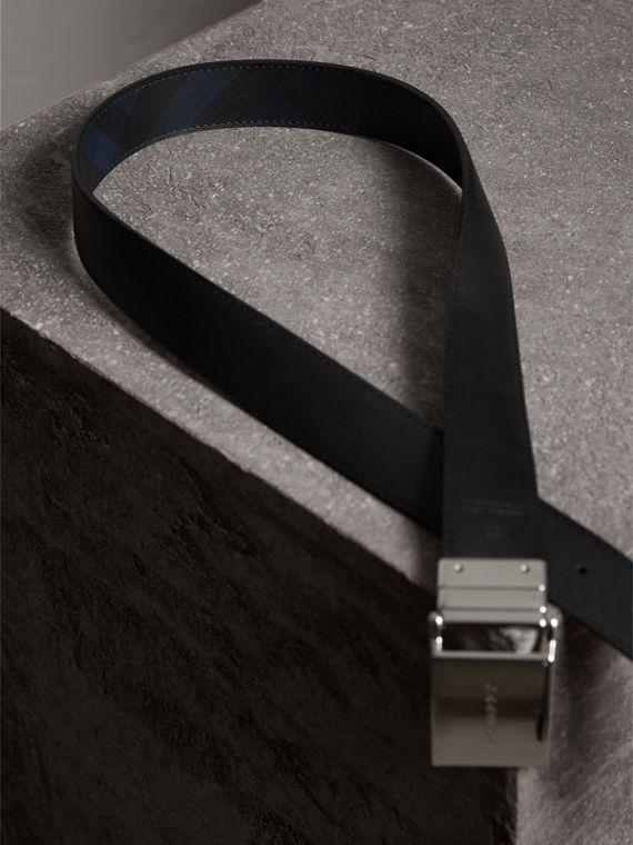 Reversible London Check and Leather Belt in Navy/black - Men | Burberry Canada - cell image 3