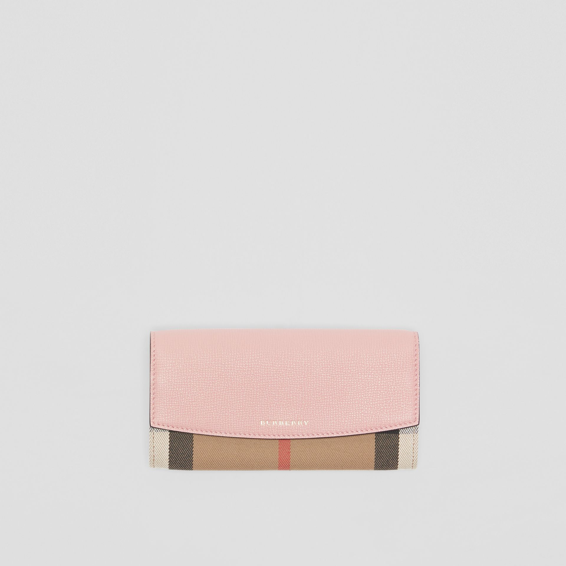 House Check And Leather Continental Wallet in Pale Orchid - Women | Burberry - gallery image 0