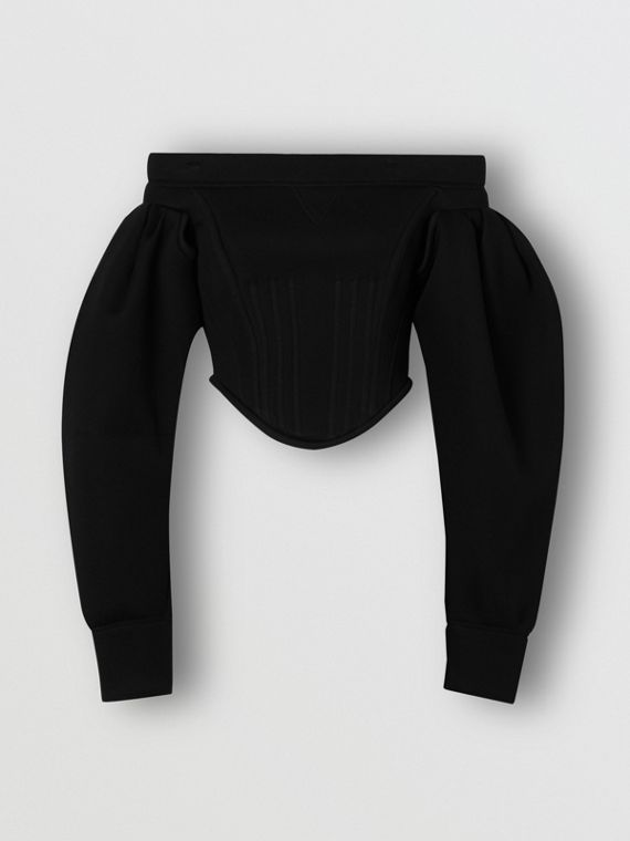 Off-the-shoulder Neoprene Corset Top in Black