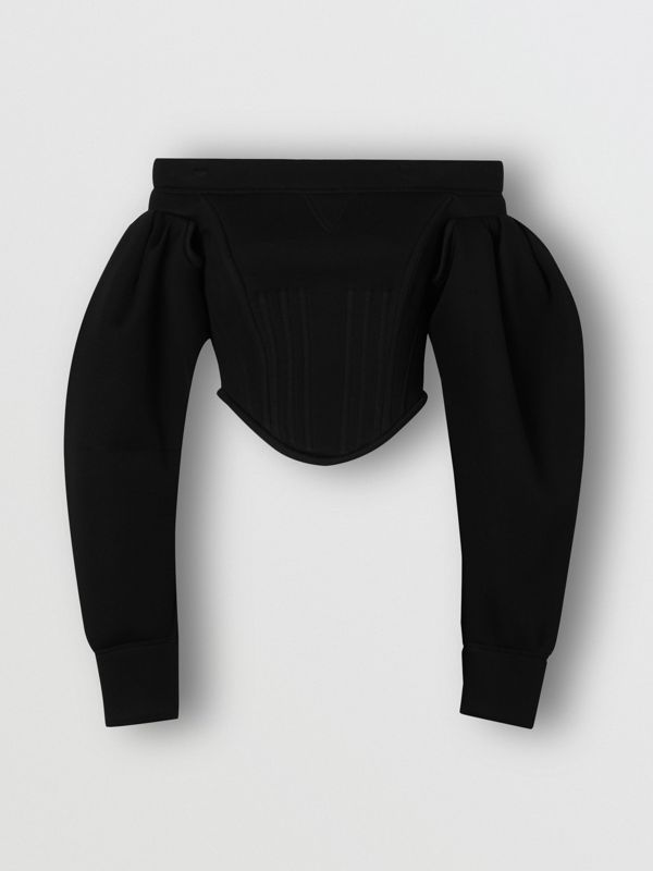 Off-the-shoulder Neoprene Corset Top in Black - Women | Burberry - cell image 3