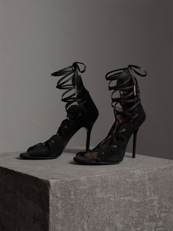 Scalloped Suede Lace-up Sandals in Black - Women | Burberry - cell image 3