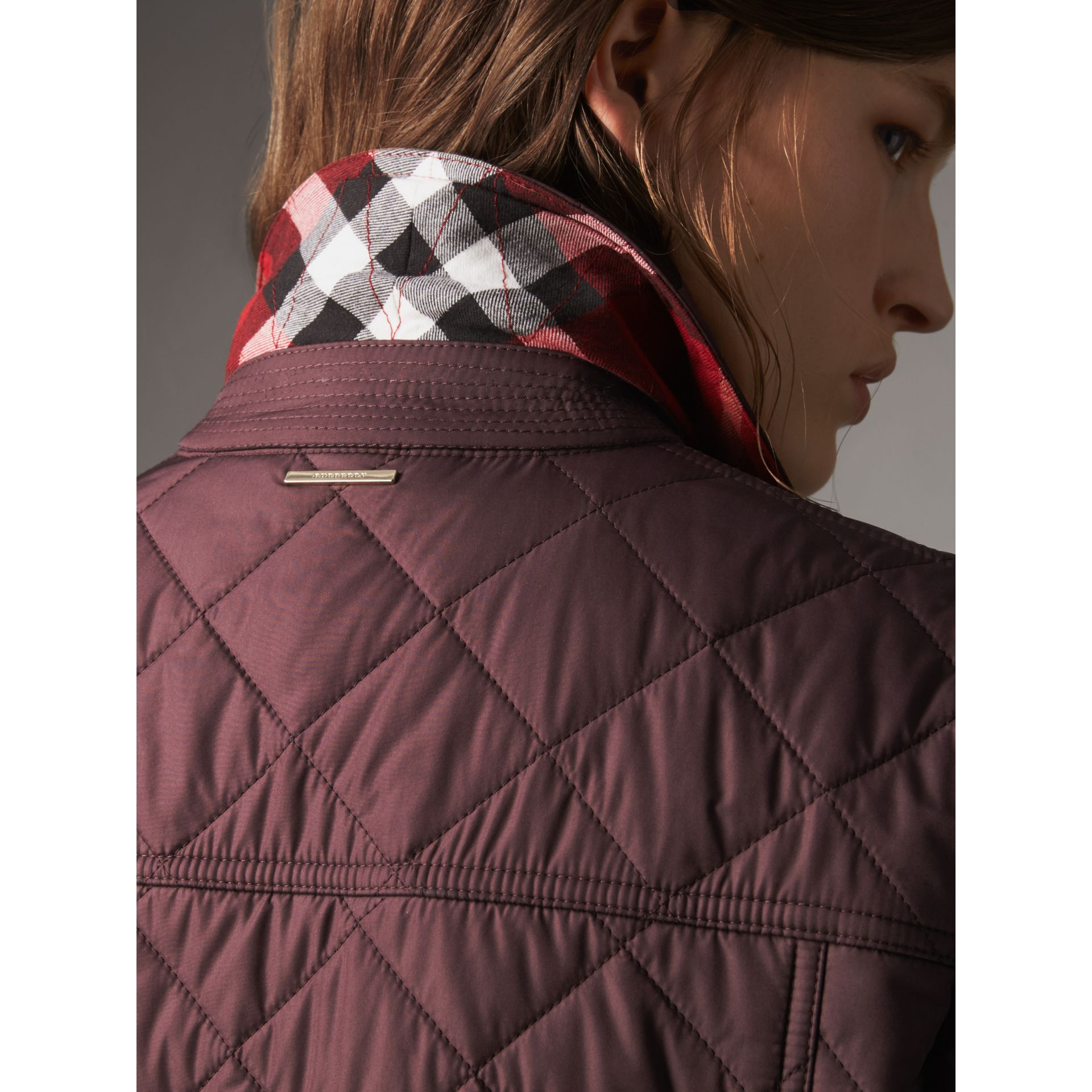 Check Detail Diamond Quilted Jacket in Burgundy - Women | Burberry - gallery image 1