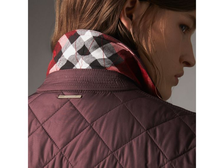 Check Detail Diamond Quilted Jacket in Burgundy - Women | Burberry - cell image 1