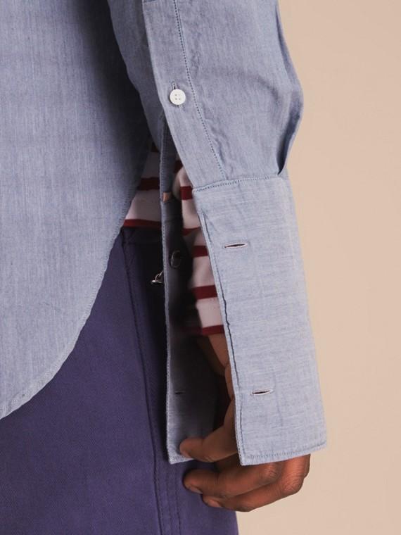 Grandad Collar Pleated Bib Cotton Shirt - cell image 3