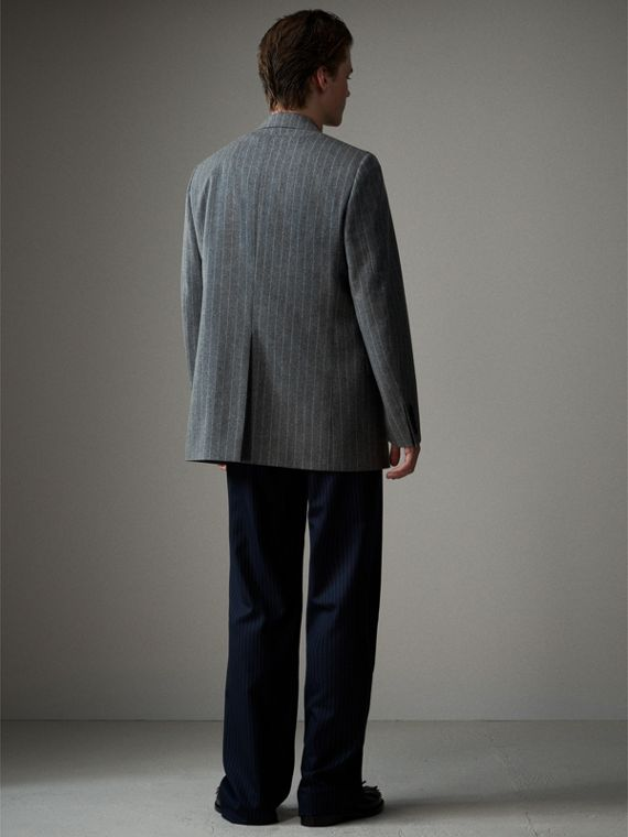 English Pinstripe Wool Flannel Tailored Jacket in Mid Grey - Men | Burberry Australia - cell image 2