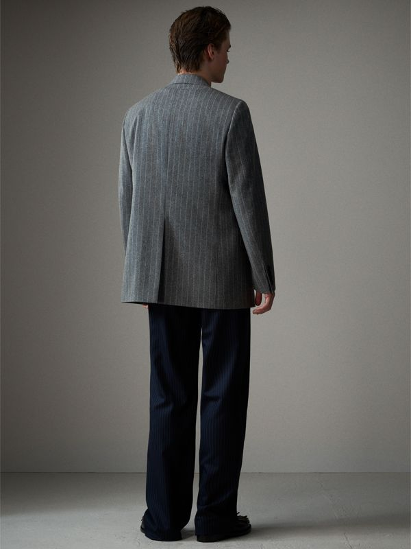 English Pinstripe Wool Flannel Tailored Jacket in Mid Grey - Men | Burberry - cell image 2