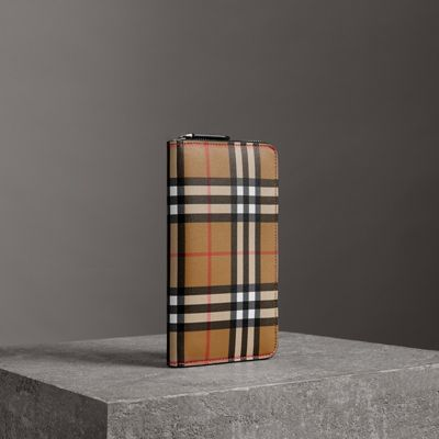 Vintage Check And Leather Ziparound Wallet in Neutrals