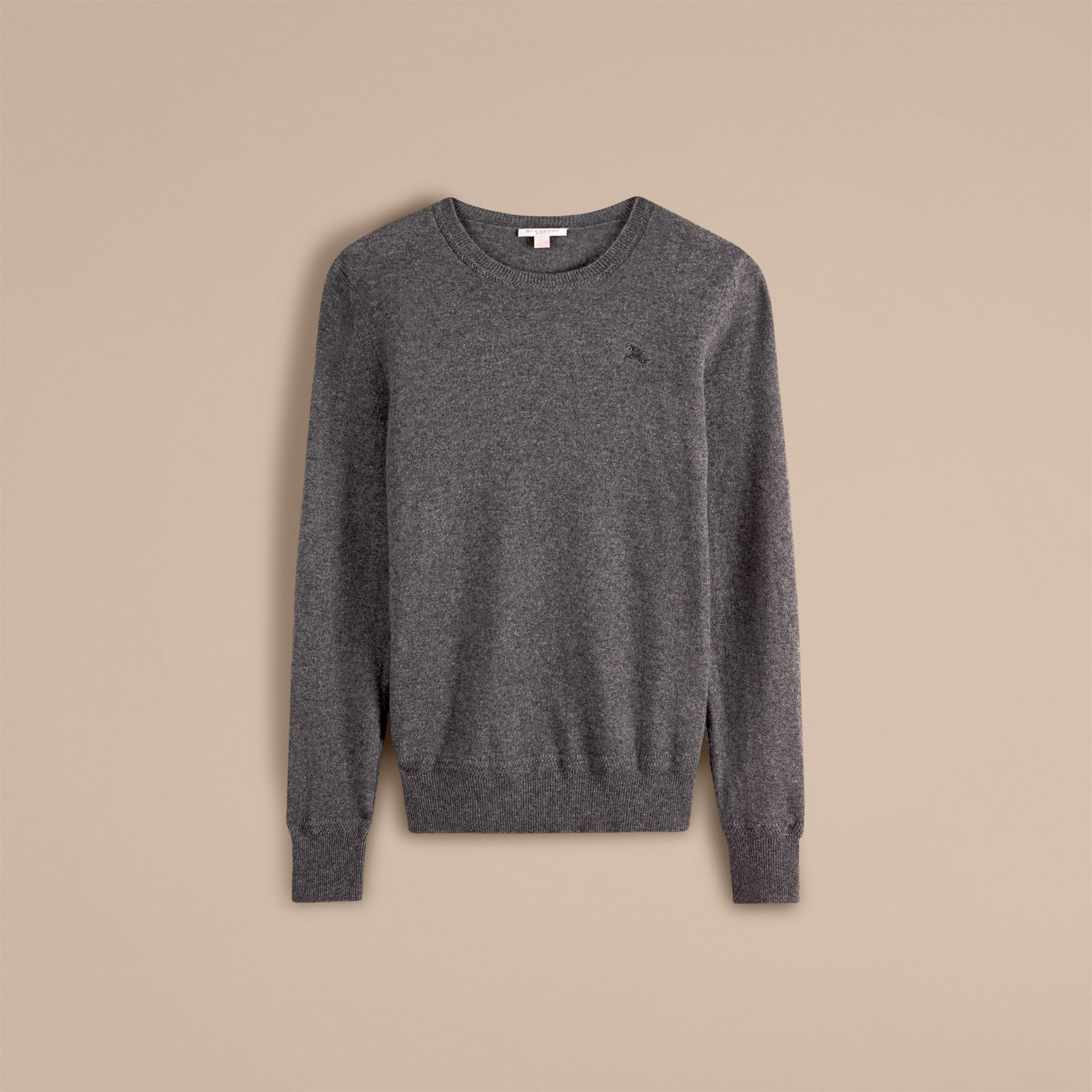 Crew Neck Cashmere Sweater in Mid Grey Melange - gallery image 4