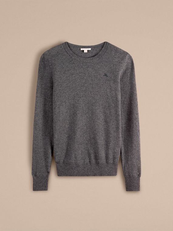 Crew Neck Cashmere Sweater in Mid Grey Melange - cell image 3