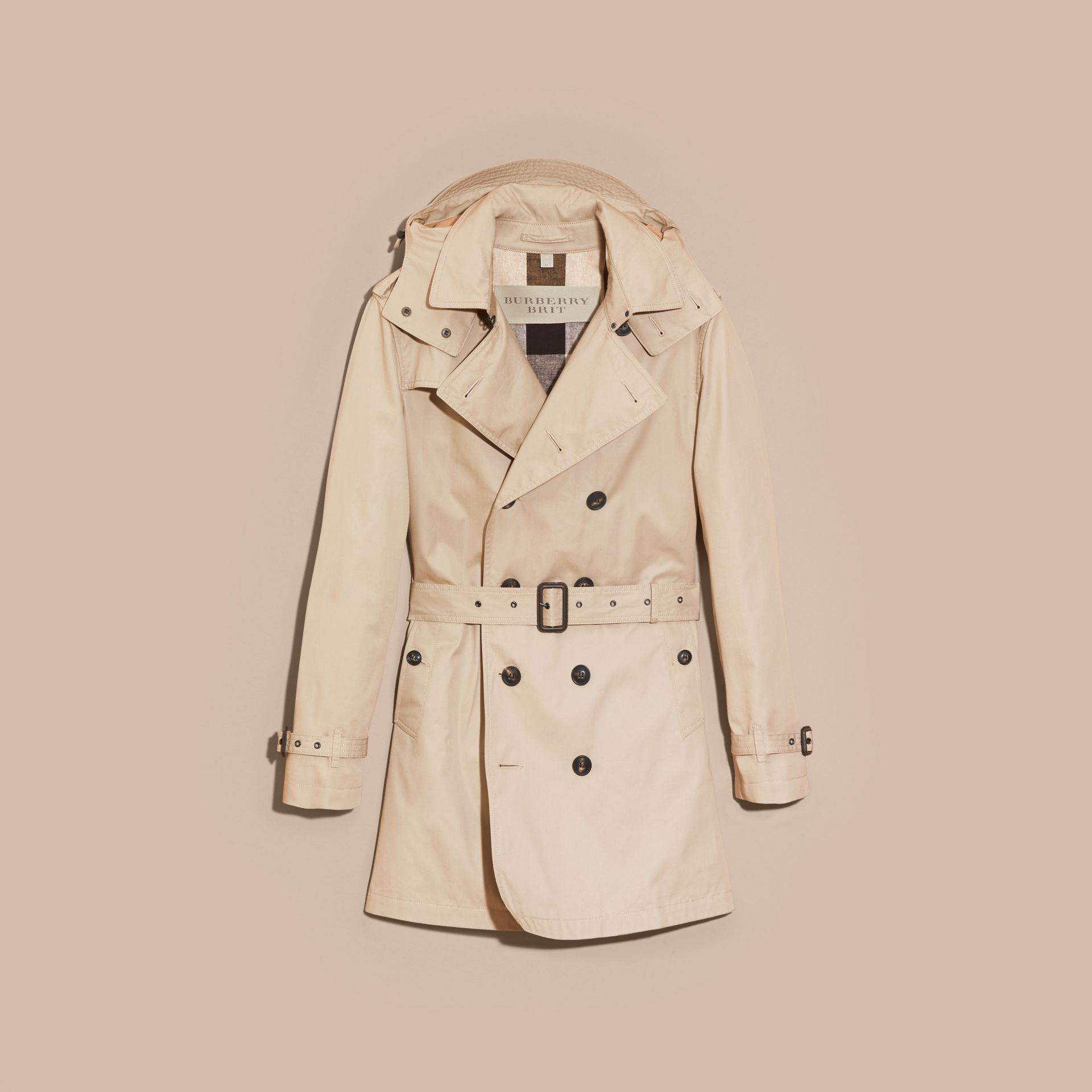 Taupe Cotton Trench Coat with Detachable Hood Taupe - gallery image 4