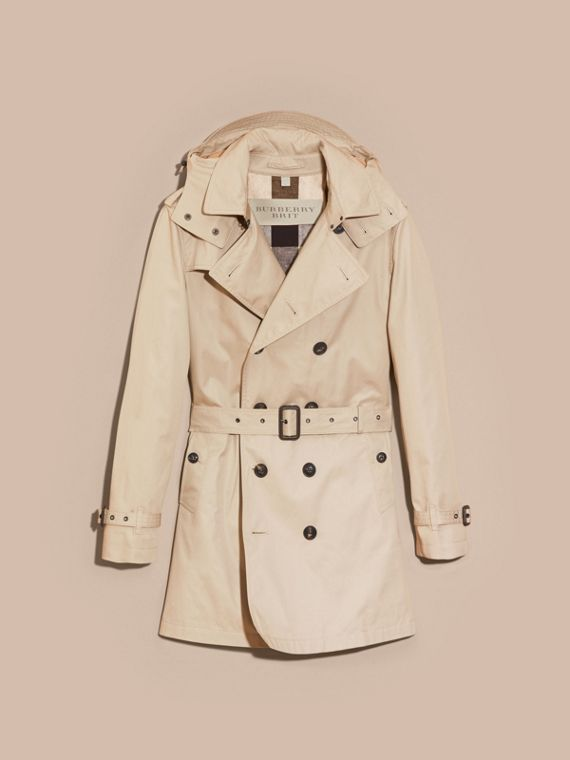 Taupe Cotton Trench Coat with Detachable Hood Taupe - cell image 3