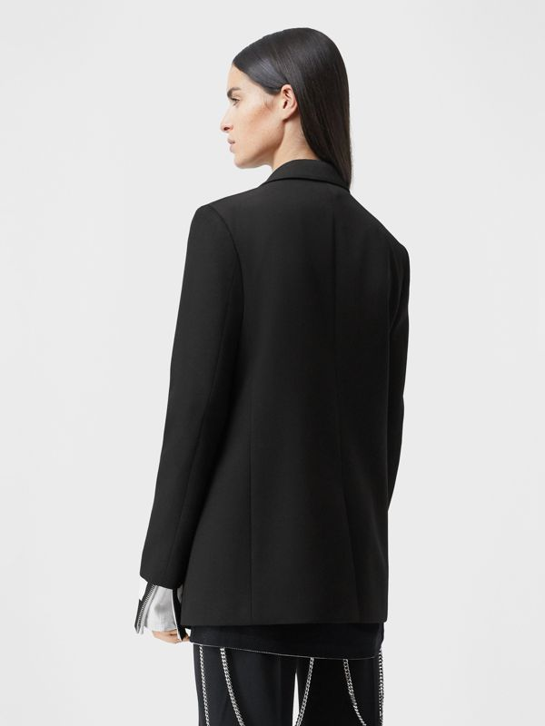 Chain Detail Wool Blazer in Black - Women | Burberry - cell image 2