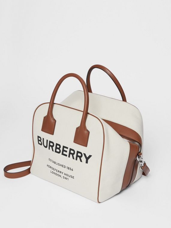 Medium Horseferry Print Canvas Cube Bag in Natural/malt Brown