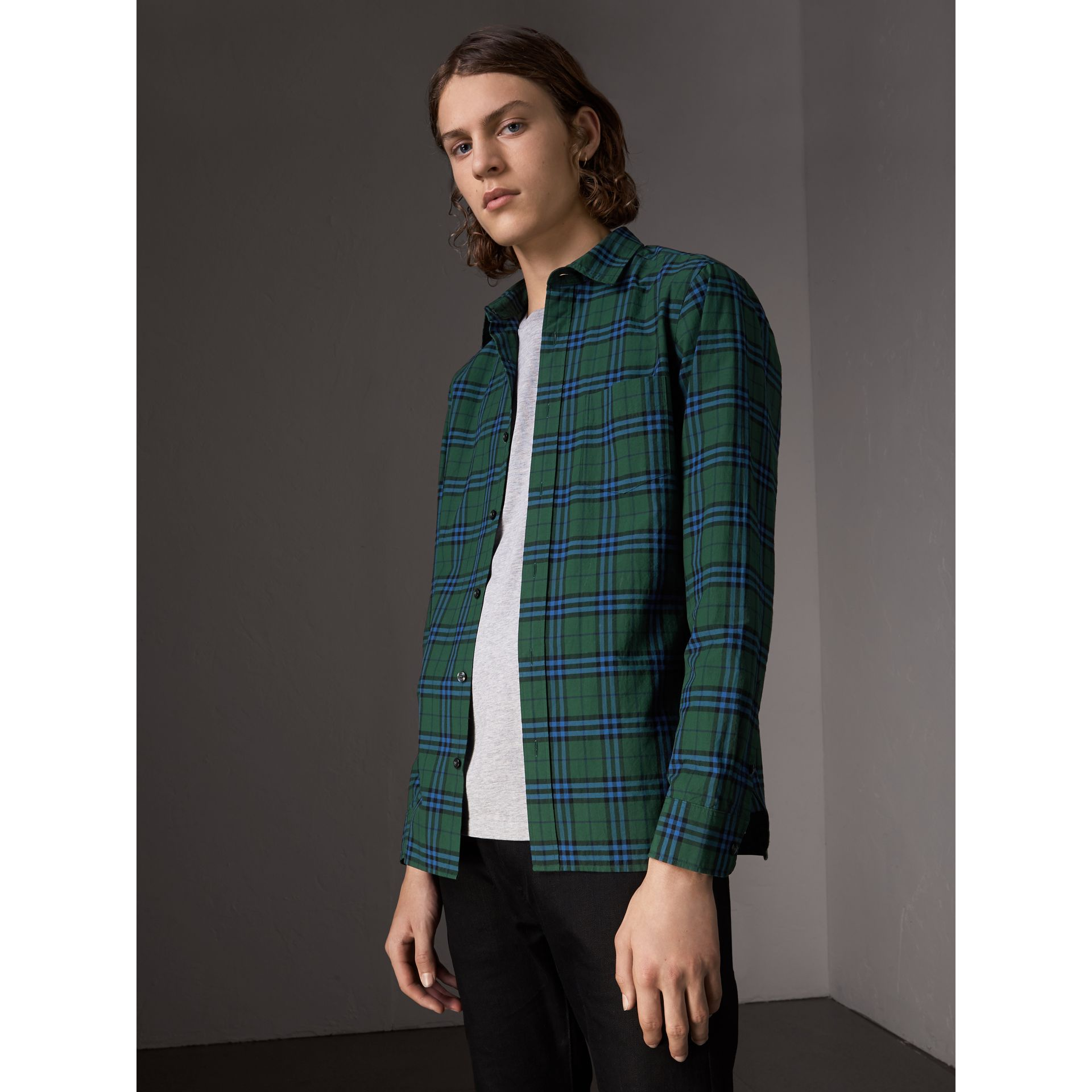Check Cotton Shirt in Forest Green - Men | Burberry - gallery image 5