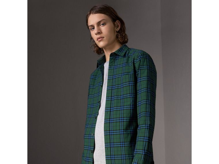 Check Cotton Shirt in Forest Green - Men | Burberry United Kingdom - cell image 4