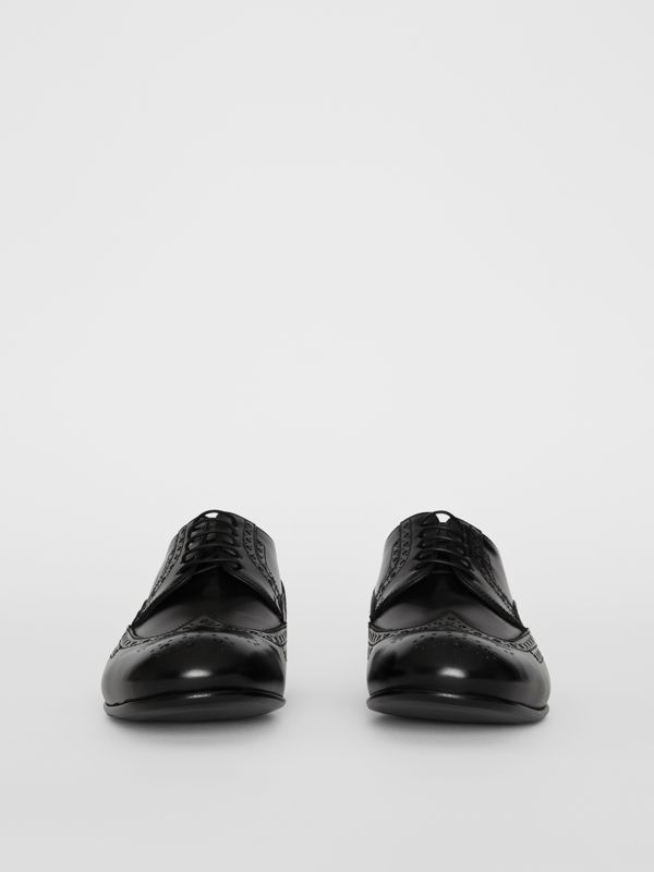 Brogue Detail Leather Derby Shoes in Black - Men | Burberry - cell image 2