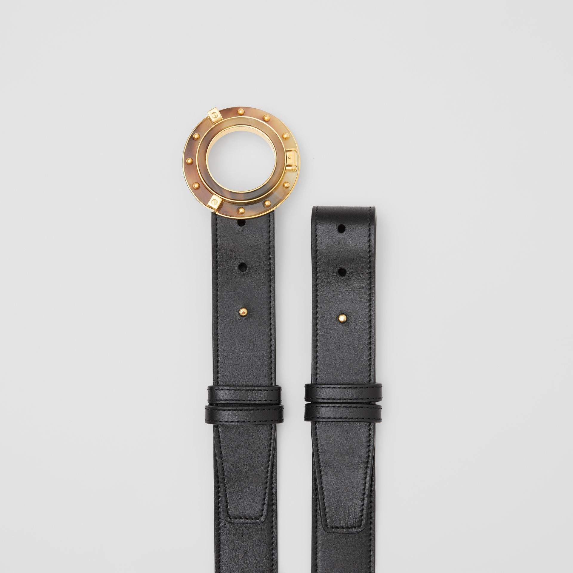 Porthole Buckle Leather Belt in Black - Women | Burberry - gallery image 6