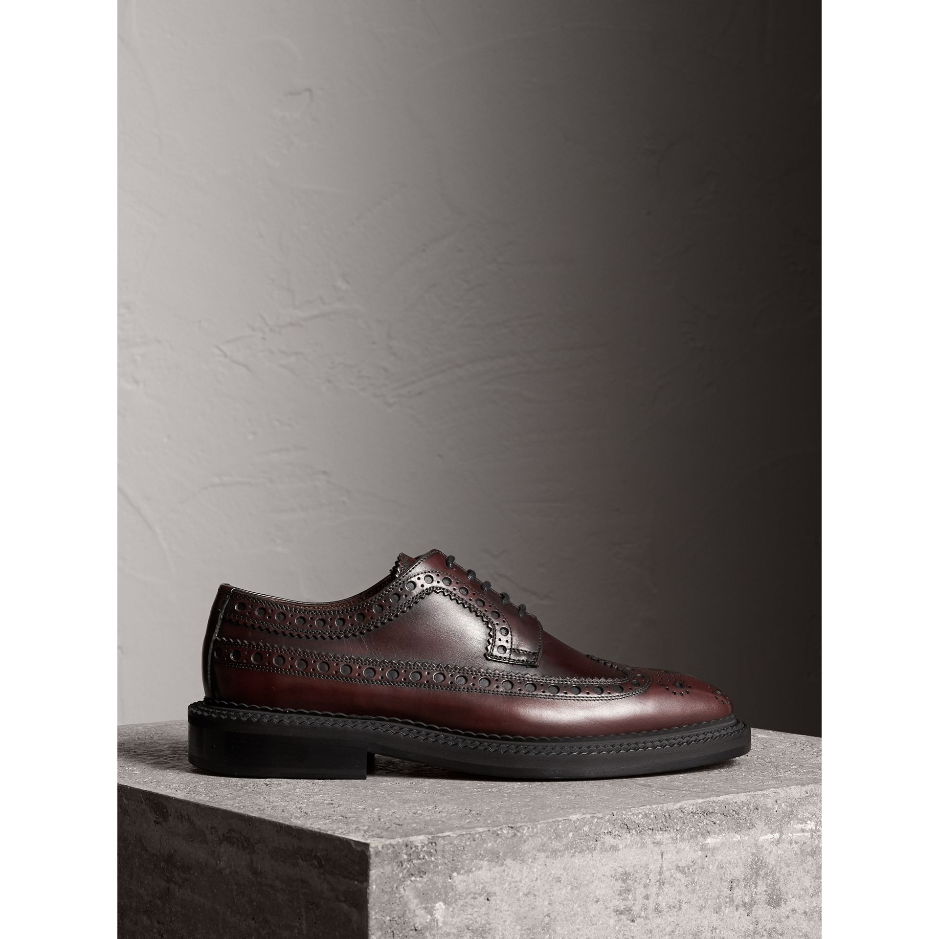 Leather Derby Brogues in Bordeaux - Men | Burberry - gallery image 4