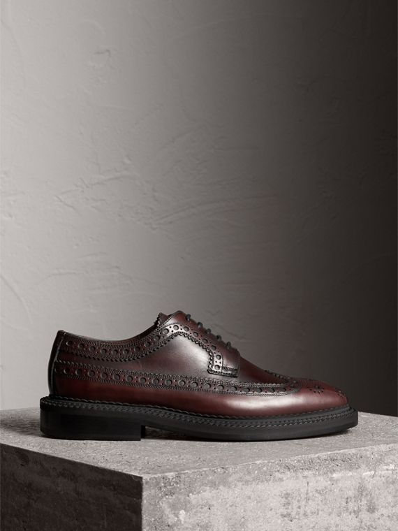 Leather Derby Brogues in Bordeaux - Men | Burberry - cell image 3