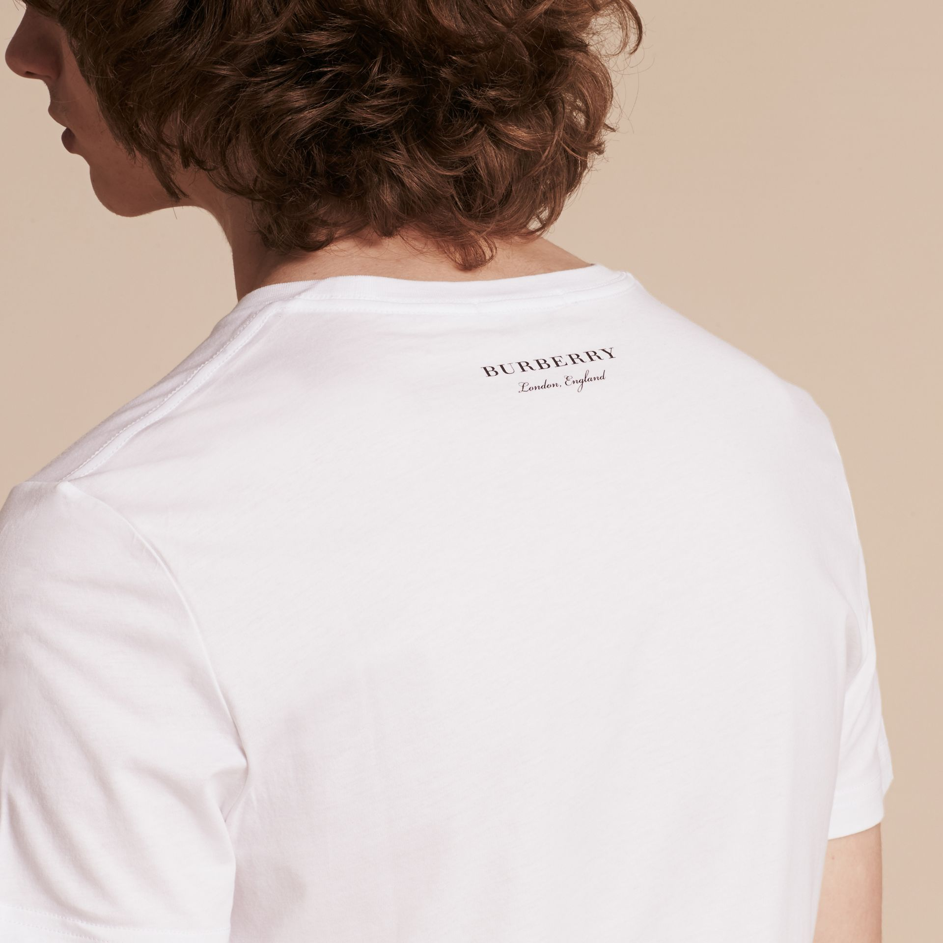 Branco Camiseta de algodão com estampa do Big Ben - galeria de imagens 5