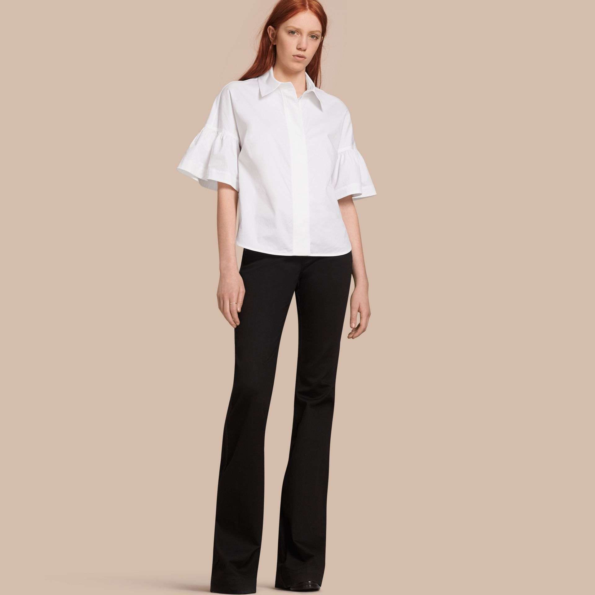 White Stretch Cotton Shirt with Ruched Sleeves White - gallery image 1