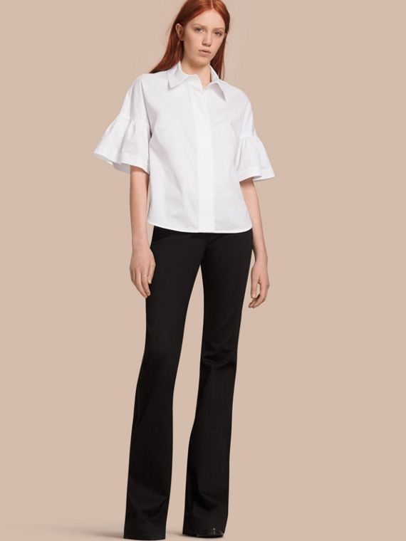 Stretch Cotton Shirt with Ruched Sleeves White