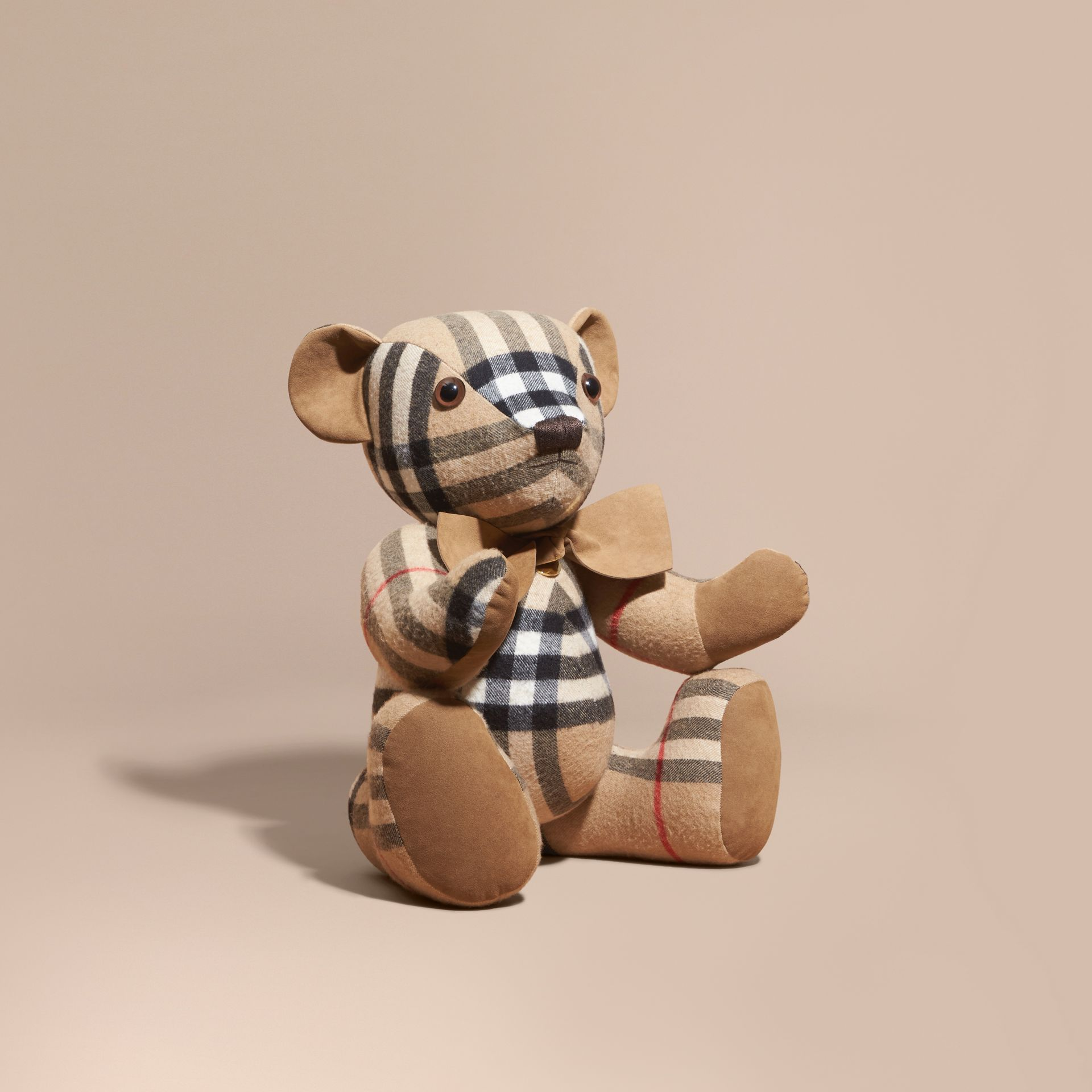 Large Thomas Bear in Check Cashmere in Camel | Burberry United Kingdom - gallery image 1