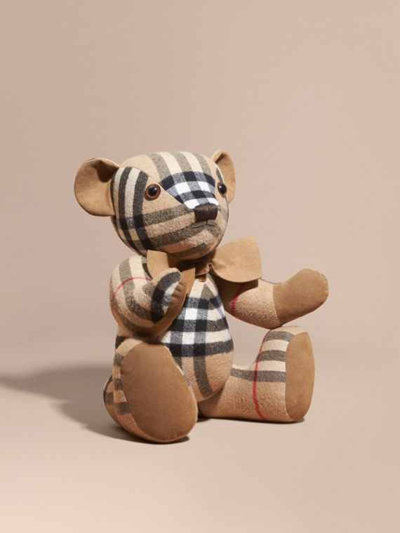 Large Thomas Bear in Check Cashmere in Camel